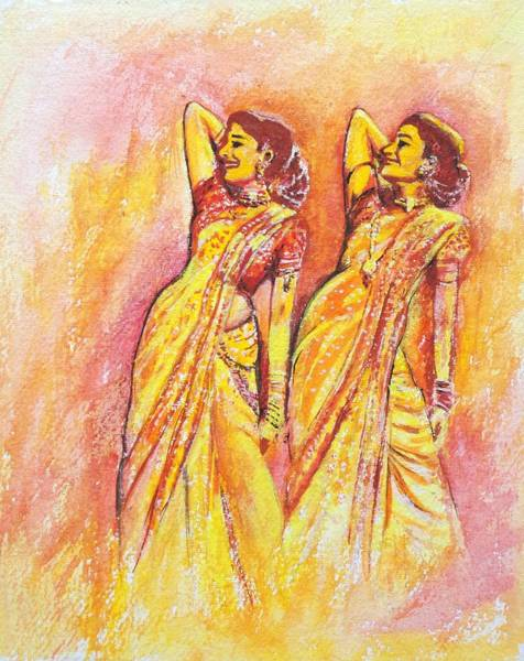 Bollywood Wall Art - Painting - Devdas Dance by Usha Shantharam