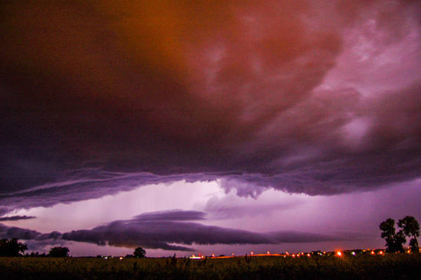 Photograph - Developing Nebraska Night Shelf Cloud 002 by NebraskaSC