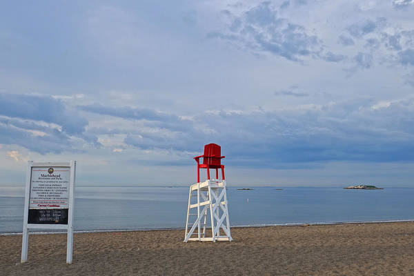 Photograph - Devereux Beach Lifeguard Chair Info Board Marblehead Ma by Toby McGuire