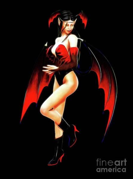 Satan Digital Art - Devilish, Digital Art By Mb by Mary Bassett