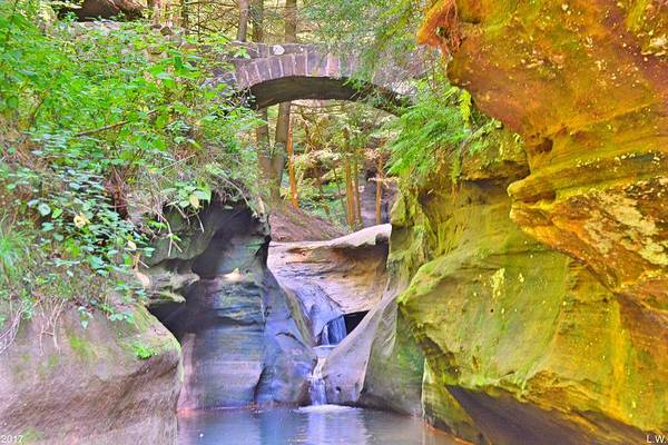 Photograph - Devil's Bathtub And Bridge At Hocking Hills Ohio by Lisa Wooten
