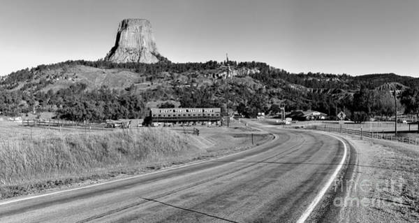 Photograph - Devils Tower Black And White Panorama by Adam Jewell