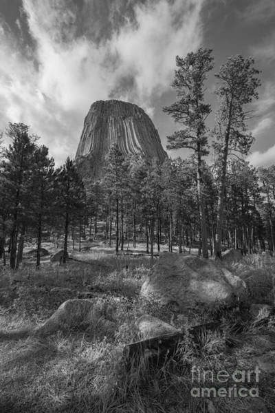 Mv Photograph - Devils Tower Close Encounter Bw by Michael Ver Sprill