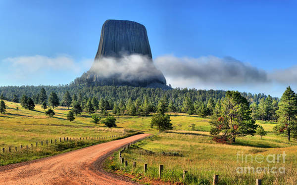 Photograph - Devils Tower Fog Layer by Adam Jewell