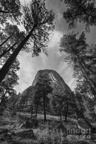 Close Encounters Wall Art - Photograph - Devils Tower From Below Bw by Michael Ver Sprill
