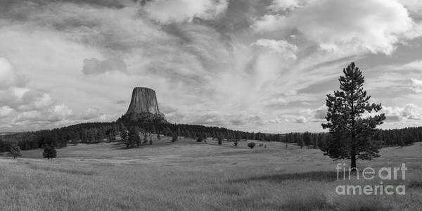 Close Encounters Wall Art - Photograph - Devils Tower Panorama Bw by Michael Ver Sprill