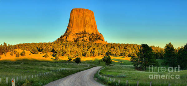 Photograph - Devils Tower Panoramic Sunset by Adam Jewell