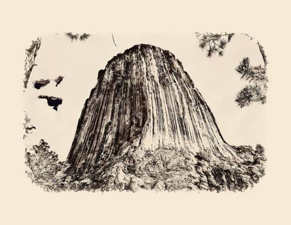 Photograph - Devils Tower Sketch by John M Bailey