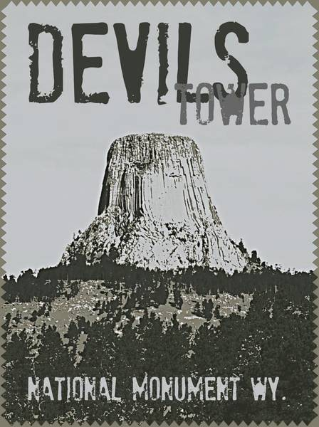 Digital Art - Devils Tower Stamp by Troy Stapek