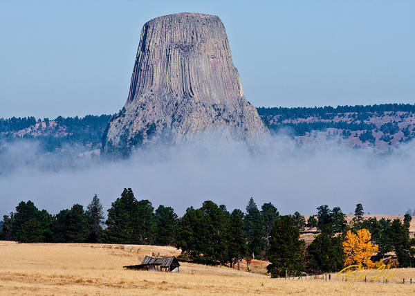 Photograph - Devil's Tower Standing In Fog by Rikk Flohr