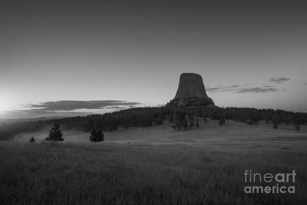Close Encounters Wall Art - Photograph - Devils Tower Sunrise Bw by Michael Ver Sprill
