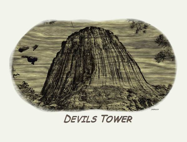 Photograph - Devils Tower Woodburning 2 by John M Bailey