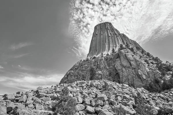 Photograph - Devil's Tower, Wyoming, Black And White by Jim Hughes