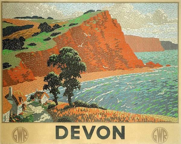 Kunst Painting - Devon Beach Vintage Travel Poster by Studio Grafiikka