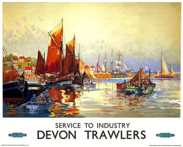 Devon Painting - Devon Port, Sailing Boats, United Kingdom, Travel Poster by Long Shot