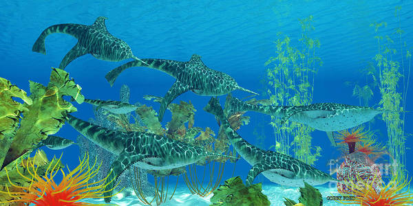 Primeval Painting - Devonian Doryaspis Fish by Corey Ford