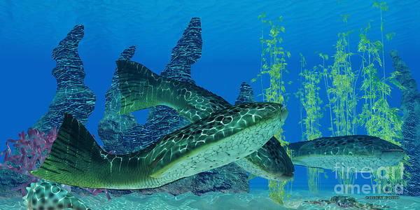 Primeval Painting - Devonian Drepanaspis Fish by Corey Ford
