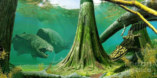 Ecosystem Wall Art - Digital Art - Devonian Mural by Julius Csotonyi