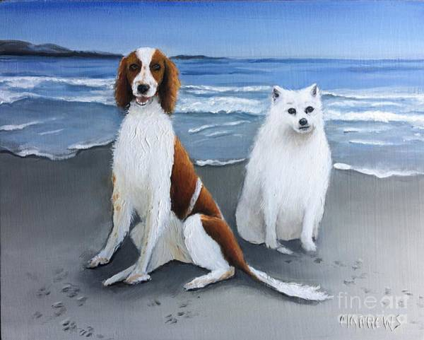Welsh Springer Spaniel Painting - Dexter And Zak by Gordon Matthews