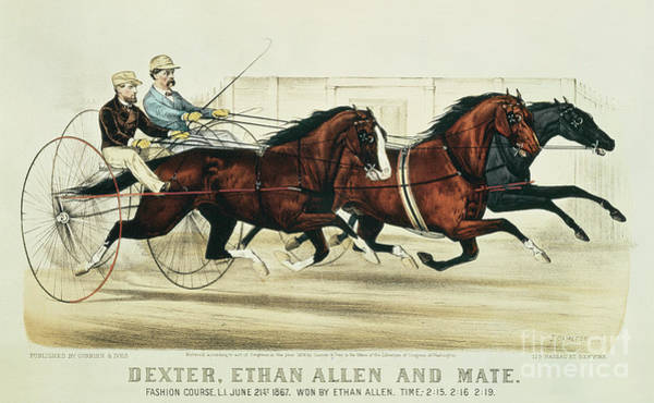 Reins Painting - Dexter, Ethan Allen And Mate by Currier and Ives