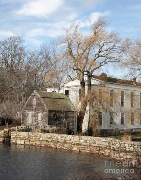 Photograph - Dexter Grist Mill And Town Hall In Autumn In Sandwich Massachusetts by William Kuta