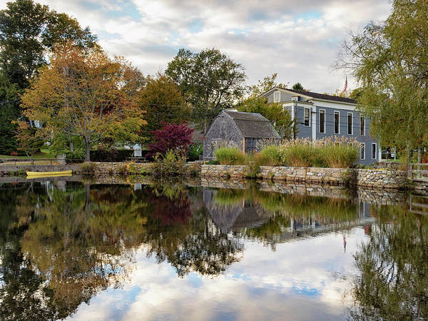 Millrace Wall Art - Photograph - Dexter Grist Mill Reflections by Marianne Campolongo