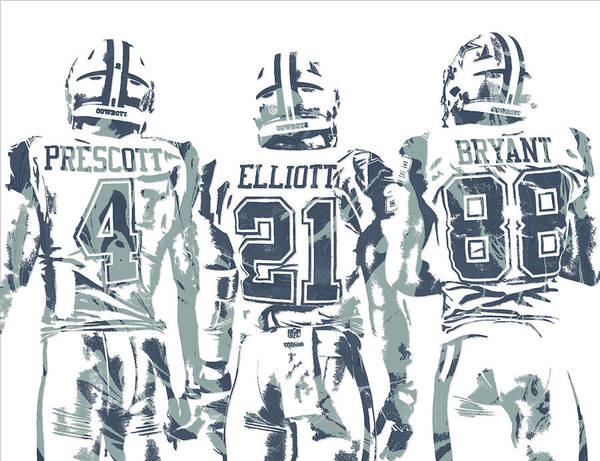 Super Bowl Mixed Media - Dez Bryant Ezekiel Elliott Dak Prescott Dallas Cowboys Pixel Art by Joe Hamilton