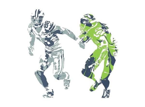 Wall Art - Mixed Media - Dez Bryant Richard Sherman Cowboys Seahawks Pixel Art 1 by Joe Hamilton