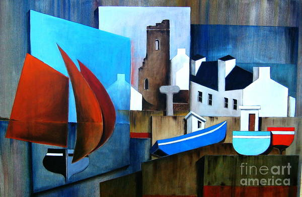 Painting - Returning Home And A Stop Over At Tory Island by Val Byrne