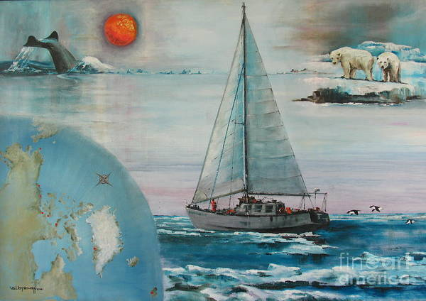 Painting - Ireland Canada Links..'' Northabout '' Rounding The North West Passage by Val Byrne