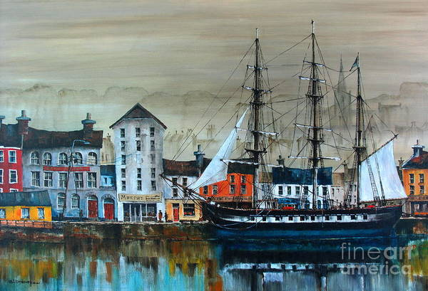 Painting - Ireland Canada Links.. The'' Dunbrody'' Famine Ship In New Ross, Wexford by Val Byrne