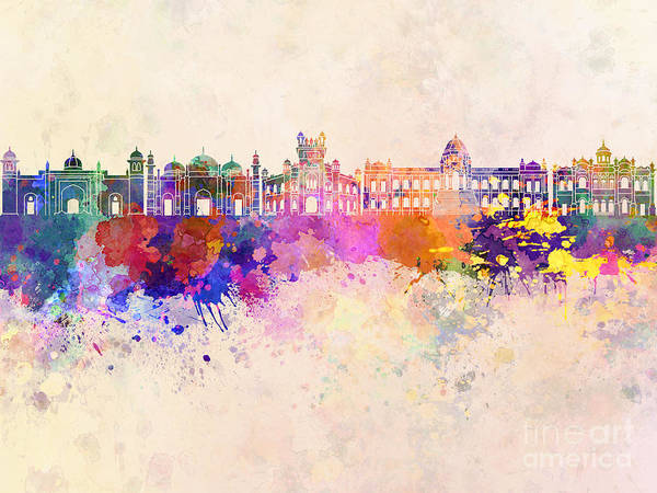 Bangladesh Painting - Dhaka Skyline In Watercolor Background by Pablo Romero