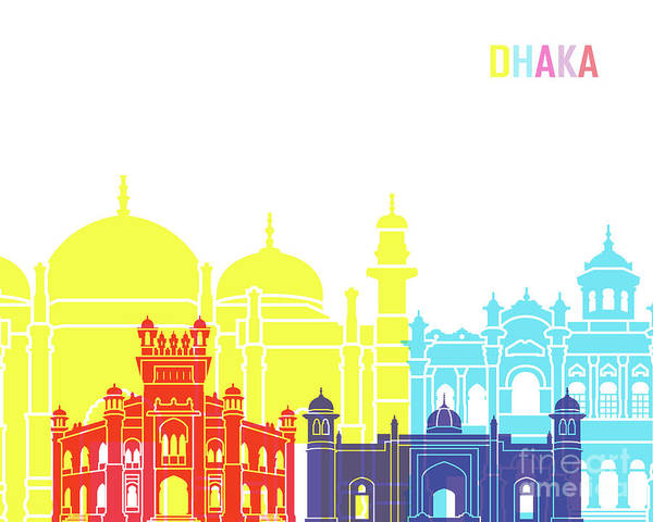 Bangladesh Painting - Dhaka Skyline Pop by Pablo Romero
