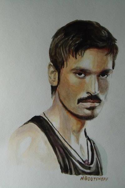 Painting - Dhanush Popular Indian Singer by Nicolas Bouteneff