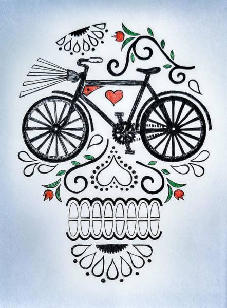 Skulls Wall Art - Drawing - Muertocicleta by John Parish