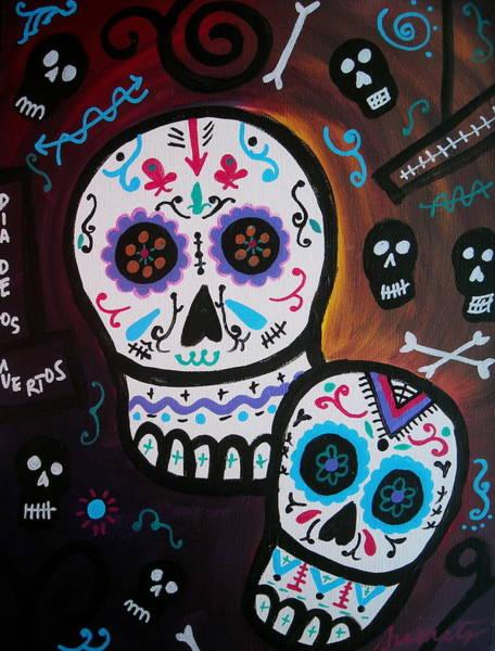 Harana Wall Art - Painting - Dia De Los Muertos Couple by Pristine Cartera Turkus