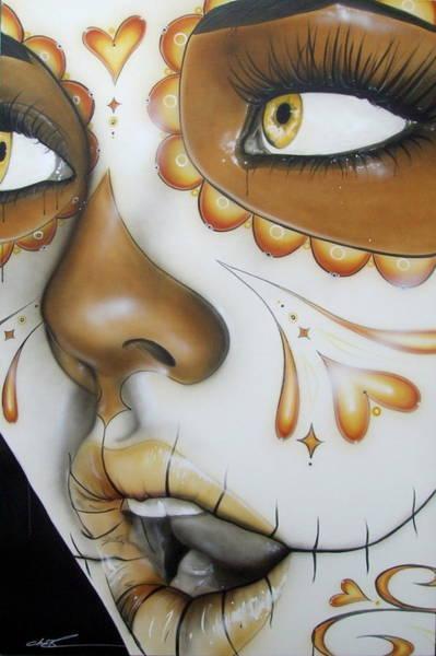 Skull Face Painting - Dia De Los Muertos by Christian Chapman Art