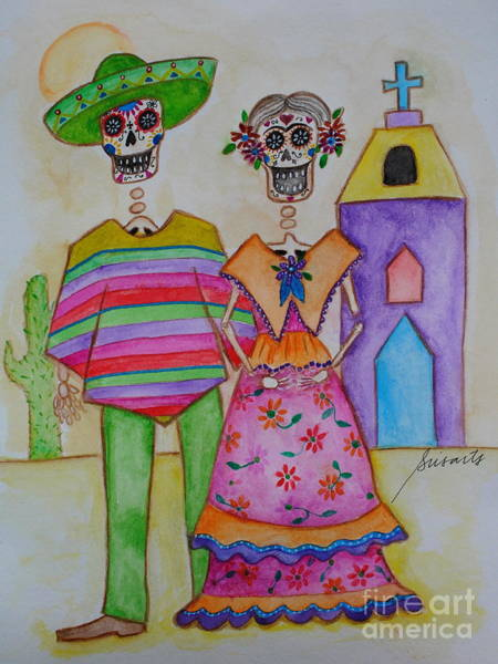 Painting - Dia De Los Muertos Mexican Couple Diego And Frida by Pristine Cartera Turkus