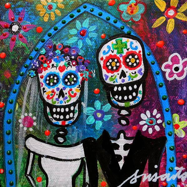 Wall Art - Painting - Dia De Los Muertos Wedding by Pristine Cartera Turkus