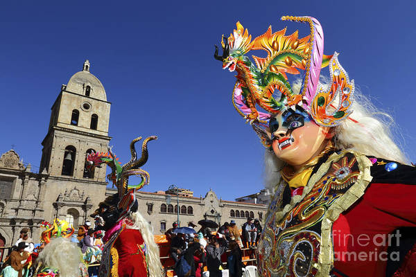 Photograph - Diablada Dancer And San Francisco Church by James Brunker