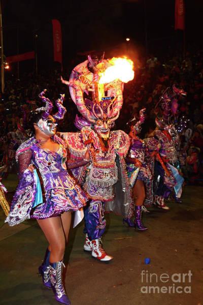 Photograph - Diablada Devil Dancers At Night Oruro Carnival Bolivia by James Brunker