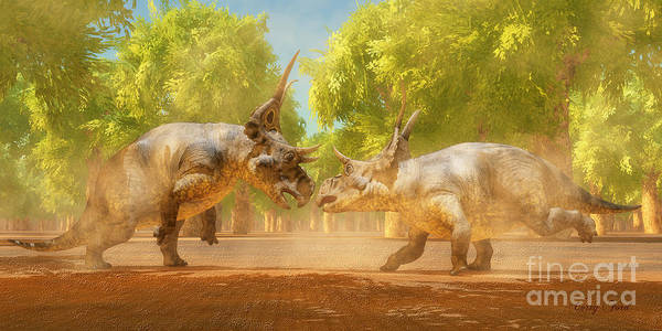Vertebrate Painting - Diabloceratops Dinosaur Fight by Corey Ford