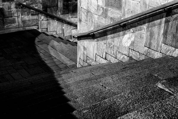 Photograph - Diagonal Staircase Monochrome Leading Down by John Williams