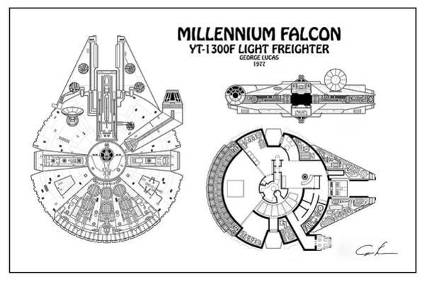 Han Solo Digital Art - Diagram Illustration For The Millennium Falcon From Star Wars by JESP Art and Decor