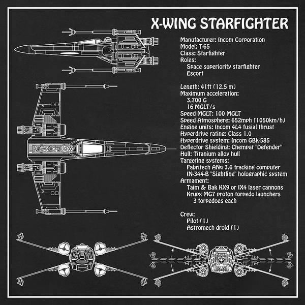 Diagram Illustration For The T-65 X-wing Starfighter From Star Wars With Technical Data Information Art Print