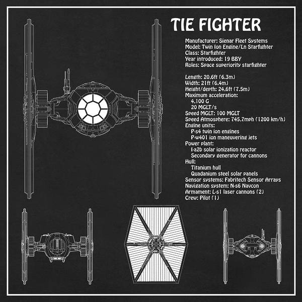 Diagram Illustration For The Tie Fighter From Star Wars With Technical Data Information Art Print