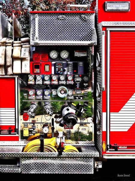 Photograph - Dials And Hoses On Fire Truck by Susan Savad