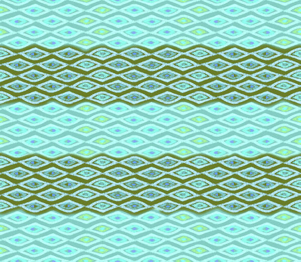 Digital Art - Diamond Bands Aqua Olive by Karen Dyson
