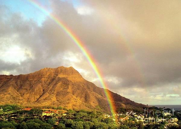 Photograph - Diamond Head Crater - Double Rainbow by D Davila