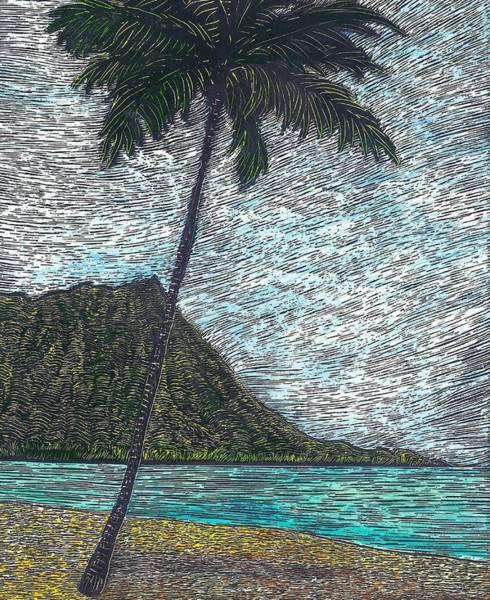 Oahu Drawing - Diamond Head Day by Cynthia Conklin